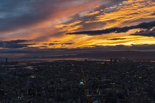 あべのハルカス 展望台からの夕焼けの写真素材 [FYI04672167]