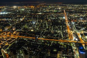 あべのハルカス 展望台からの夜景の写真素材 [FYI04672168]