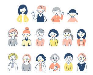 様々な年代の女性 上半身 セットのイラスト素材 [FYI04672217]