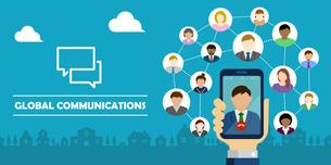 ビデオ通話 / グローバルコミュニケーション 手持ちスマートフォン バナーイラストのイラスト素材 [FYI04672474]