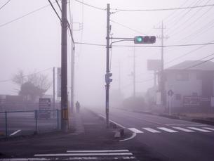 霧にむせぶ交差点の写真素材 [FYI04672591]