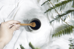 植物の影が差し込む窓辺と白い布とコーヒーカップのある写真素材の写真素材 [FYI04672963]