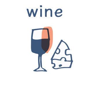 赤ワインとチーズ テキストのイラスト素材 [FYI04673032]
