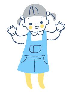 手を振る女の子のイラスト素材 [FYI04673057]