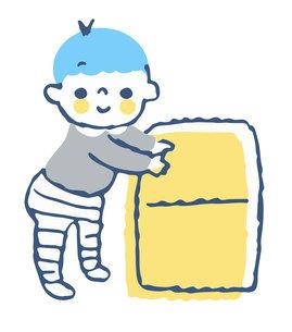 つかまり立ちをする赤ちゃんのイラスト素材 [FYI04673059]