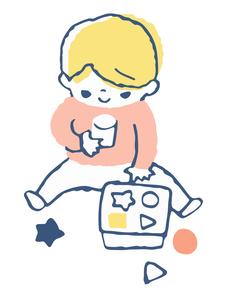 おもちゃで遊ぶ赤ちゃんのイラスト素材 [FYI04673065]
