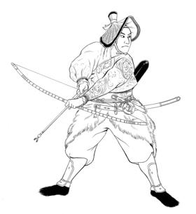 弓を持つ武士 線画のイラスト素材 [FYI04673453]
