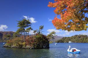 秋の十和田湖とスワンボートの写真素材 [FYI04673526]