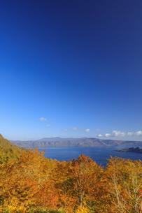 紅葉の十和田湖と八甲田山の写真素材 [FYI04673530]