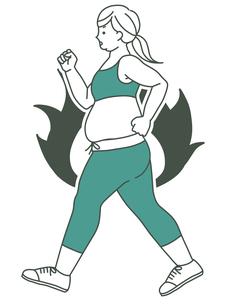 肥満の女性-ウォーキング-炎(燃焼・やる気)-2色のイラスト素材 [FYI04673838]