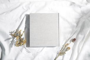 自然光と葉の影が反射した白い布とフォトアルバムの写真素材 [FYI04673886]