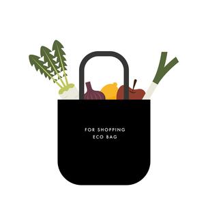 エコバッグと食材のイラストのイラスト素材 [FYI04673927]