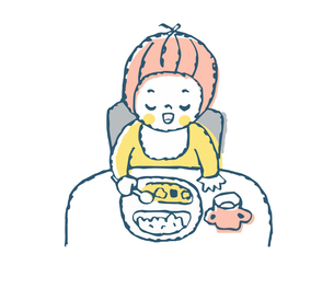 食事をする赤ちゃんのイラスト素材 [FYI04673985]