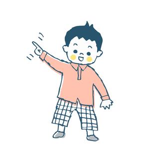 指をさす男の子のイラスト素材 [FYI04673993]