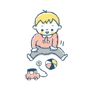 オモチャで遊ぶ赤ちゃんのイラスト素材 [FYI04674003]