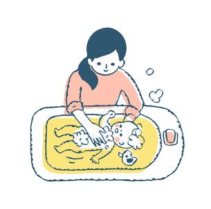 赤ちゃんをお風呂に入れるママのイラスト素材 [FYI04674013]