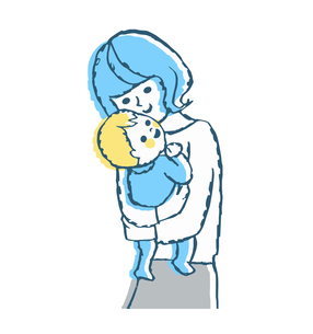 赤ちゃんを抱っこするママのイラスト素材 [FYI04674014]