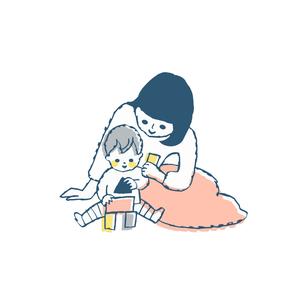 積木で遊んでいる赤ちゃんとママのイラスト素材 [FYI04674021]