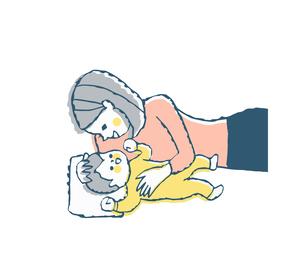 赤ちゃんと添い寝をするママのイラスト素材 [FYI04674023]