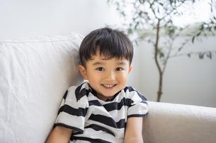 ソファに座る日本人男の子の写真素材 [FYI04674424]