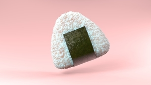 Onigiri rice ball wrapped in Nori seaweed on pink background. 3D illustration.のイラスト素材 [FYI04674479]