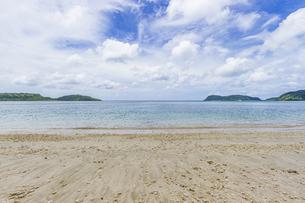 八重山グリーンとエメラルドグリーンの海に囲まれたイダの浜の写真素材 [FYI04674508]