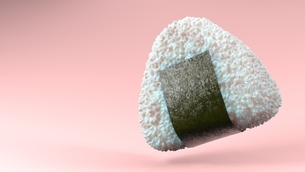 Onigiri rice ball wrapped in Nori seaweed on pink text space. 3D illustration.のイラスト素材 [FYI04674525]