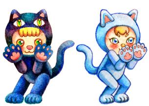 猫の着ぐるみを着ている子ども達のイラスト素材 [FYI04674528]