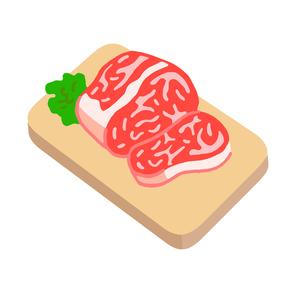 ボードの上の牛肉 ブロックのイラスト素材 [FYI04674894]
