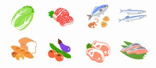 食材 肉魚野菜パンのイラスト素材 [FYI04674913]