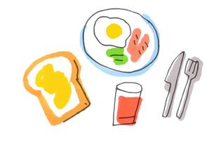 朝ごはん トーストと目玉焼きのイラスト素材 [FYI04674916]