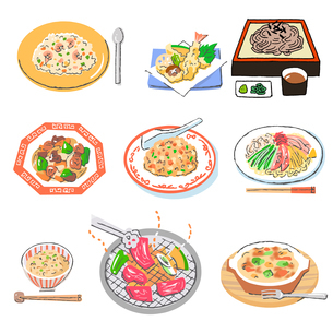 様々な料理メニューのセットのイラスト素材 [FYI04674943]