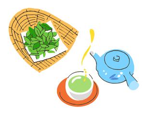 日本茶と茶葉のイラスト素材 [FYI04674948]