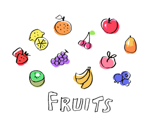 様々なカラフルなフルーツのイラスト素材 [FYI04674960]