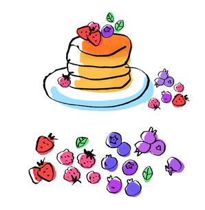 パンケーキとベリー類のイラスト素材 [FYI04674962]