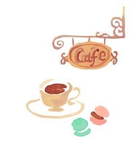 カフェ看板 コーヒーとスウィーツのイラスト素材 [FYI04674973]