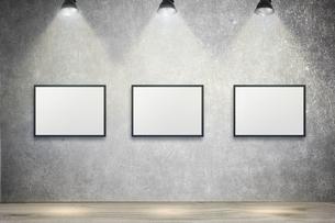 白いコンクリート壁のスポットライトの背景グラフィックス素材の写真素材 [FYI04675006]