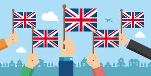 手持ち国旗 バナーイラスト ( 愛国心・イベント・お祝い ・デモ) / イギリス・英国のイラスト素材 [FYI04675704]
