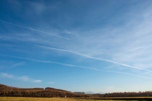 秋の青空と飛行機雲の写真素材 [FYI04675835]