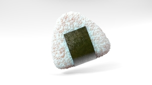Onigiri rice ball wrapped in Nori seaweed on white background. 3d illustration.のイラスト素材 [FYI04676478]