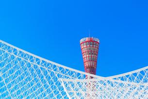 関西の風景 神戸市 メリケンパーク ポートタワーと神戸海洋博物館の写真素材 [FYI04676596]