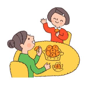 みかんを食べる母と女の子のイラスト素材 [FYI04676774]