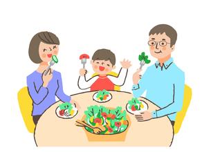 笑顔で野菜を食べている親子のイラスト素材 [FYI04676778]