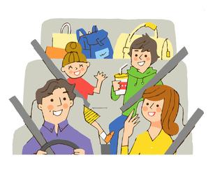 ドライブを楽しむ家族のイラスト素材 [FYI04676790]