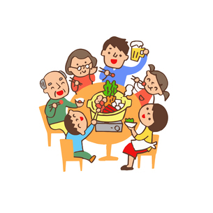 食卓で鍋を囲む家族のイラスト素材 [FYI04676791]