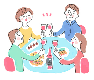 ワインで乾杯する男女のイラスト素材 [FYI04676793]