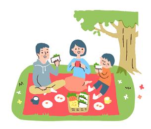ピクニックをする家族のイラスト素材 [FYI04676796]