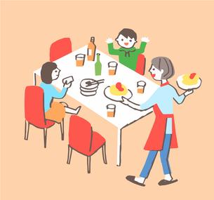 ダイニングで食事をする家族のイラスト素材 [FYI04676797]