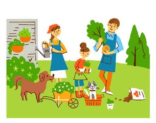 ガーデニングをする家族のイラスト素材 [FYI04676798]