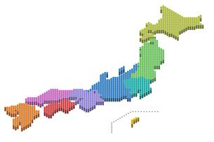 ドット日本地図3D(地方別)のイラスト素材 [FYI04676865]
